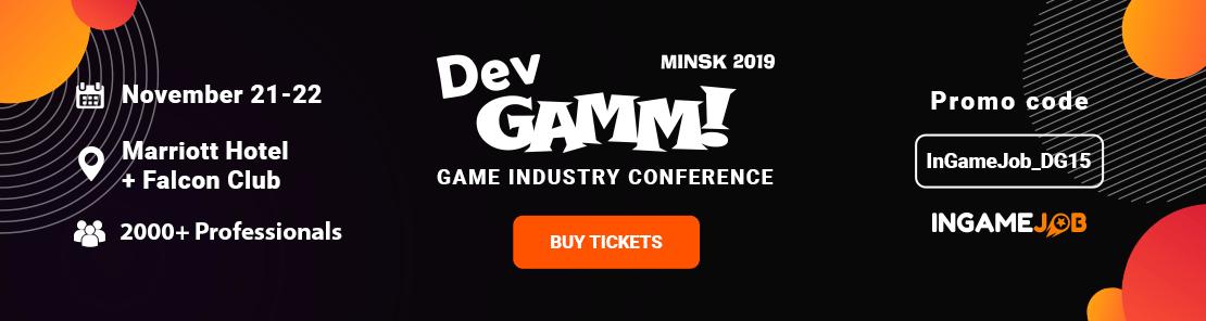 Промокод - 15% на конференцию DevGAMM 2019 в Минске.